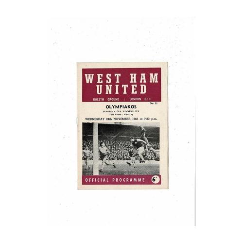 West Ham United v Olympiakos European Cup Winners Cup Football Programme 1965/66