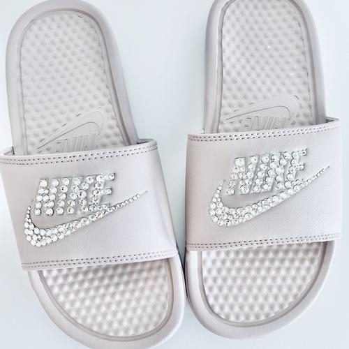 Swarovski Crystal Nike Sliders Lilac/Beige