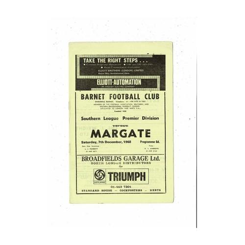 1968/69 Barnet v Margate Football Programme