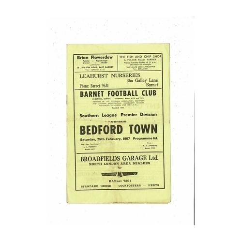 1966/67 Barnet v Bedford Town Football Programme
