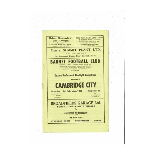 1967/68 Barnet v Cambridge City Floodlight Cup Football Programme