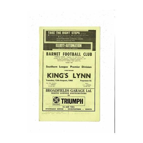 1968/69 Barnet v Kings Lynn Football Programme