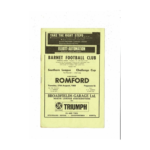 1968/69 Barnet v Romford League Cup Football Programme