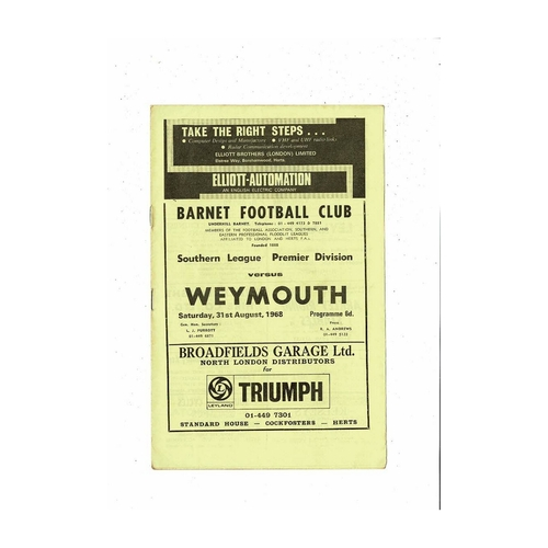 1968/69 Barnet v Weymouth Football Programme