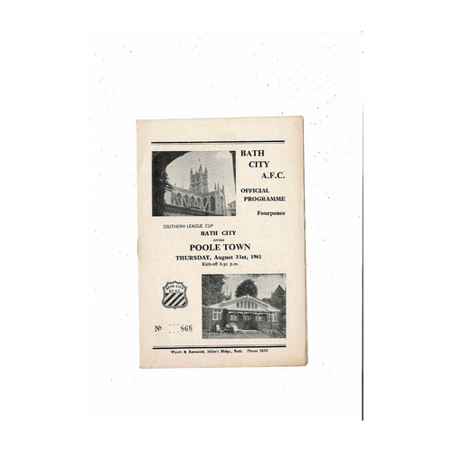 1961/62 Bath City v Poole Town League Cup Football Programme