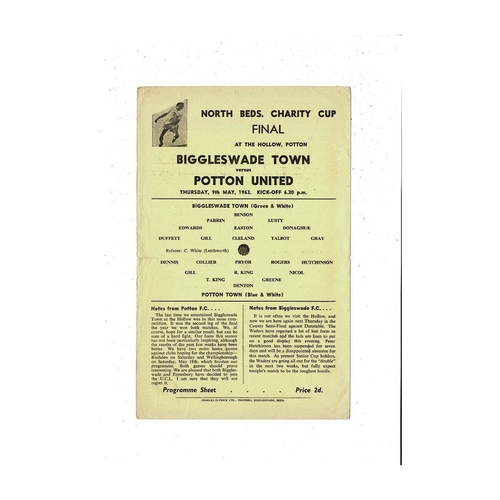 1962/63 Biggleswade Town v Potton United North Beds Cup Final Football Programme