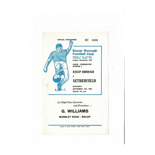 1966/67 Bacup Borough v Netherfield Football Programme
