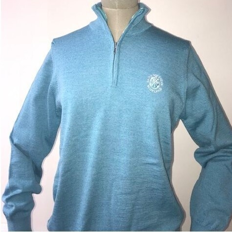 Johnstons of Elgin 100% Merino wool zipped turtle neck - Turquoise
