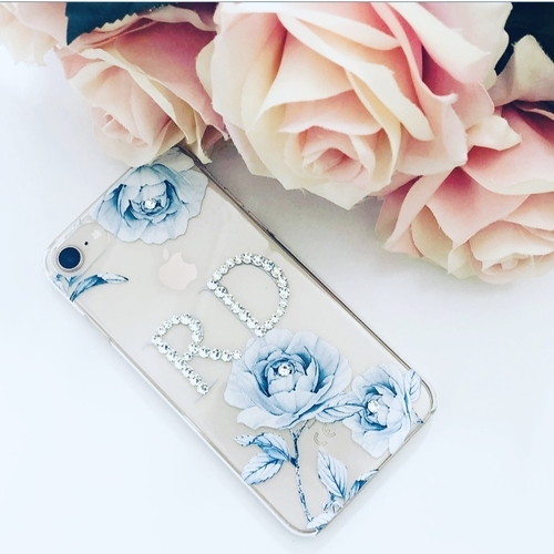 Swarovski Crystal Blue Roses Phone Case