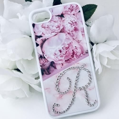 Swarovski Crystal Peony Initial Phone Case