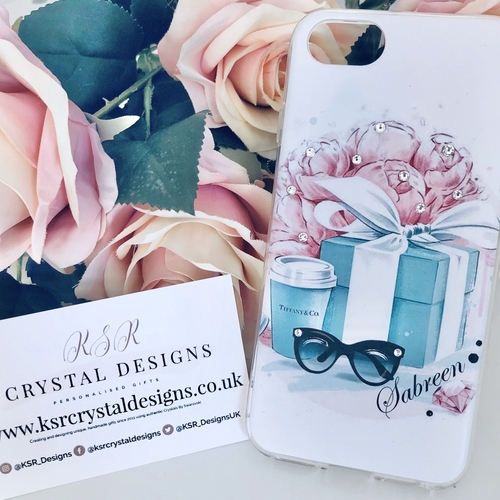 Personalised Phone Case Floral Blue Gift Box Design