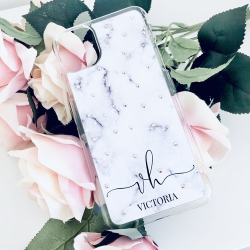 Swarovski Phone Case Purple Marble Personalised