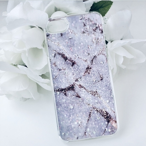 Purple Marble Swarovski Phone Case