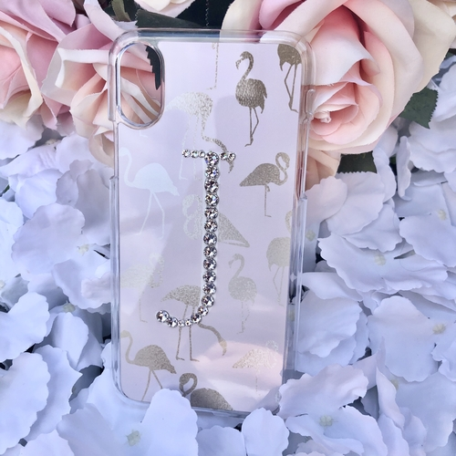 Swarovski Phone Case Flamingo Design with Crystal Initial