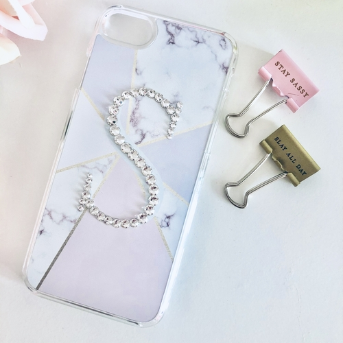 Swarovski Crystal Initial Phone Case Geometric
