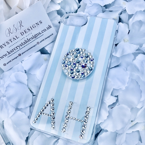 Baby Blue Pinstripe Crystal Initial Phone Case