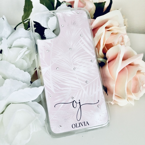Swarovski Phone Case Pink & Silver Leaves