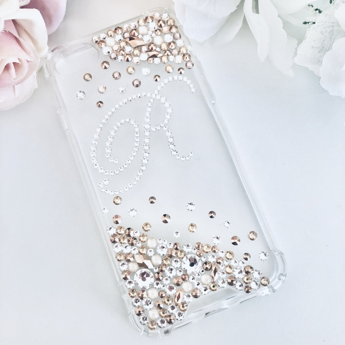 Swarovski Initial Phone Case Gold Scatter