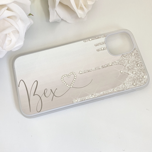GLITTER (EFFECT) DRIP CHAMPAGNE GOLD PERSONALISED PHONE CASES
