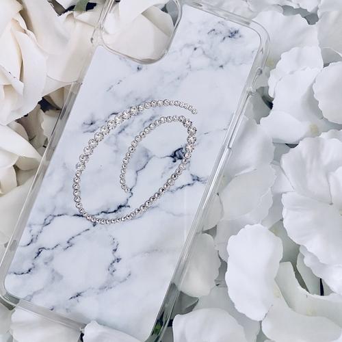 Grey Marble Script Inital Swarovski Phone Case