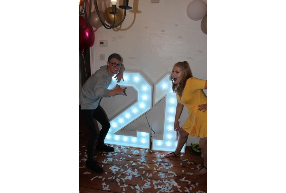 Light Up 21 Numbers, man and woman either side