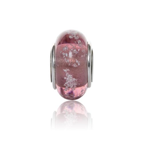 Plum Cremation Glass Charm Bead