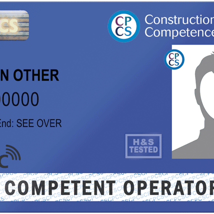 Blue CPCS Competent Operator cards