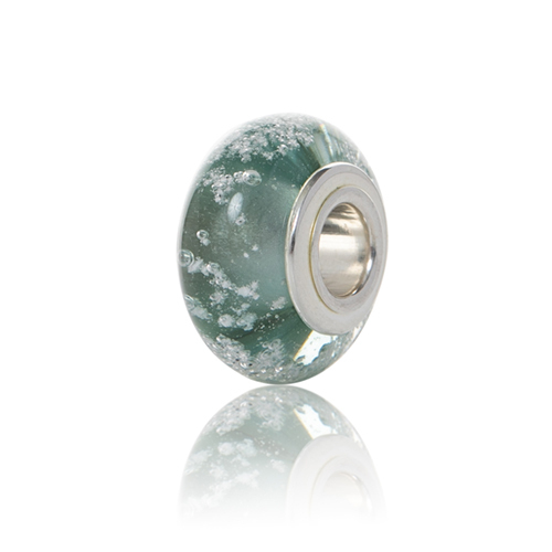 Seafoam Cremation Glass Charm Bead