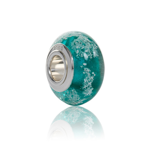 Teal Cremation Glass Charm Bead