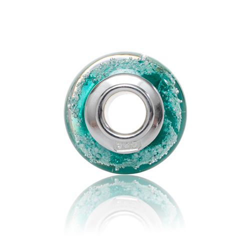 Teal Cremation Glass Charm Bead