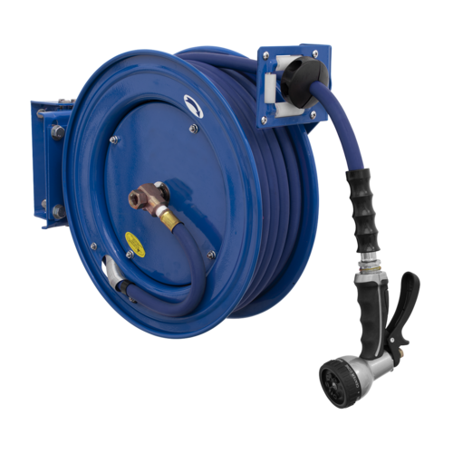 Heavy-Duty Retractable Water Hose Reel 15m Ø13mm ID Rubber Hose - Sealey - WHR1512