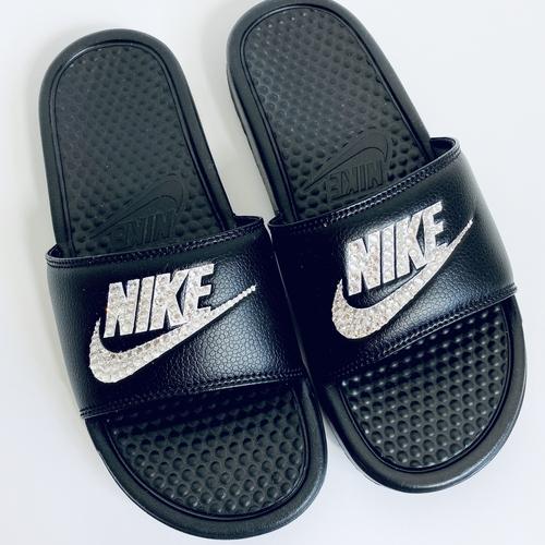 Black Nike Crystal Sliders
