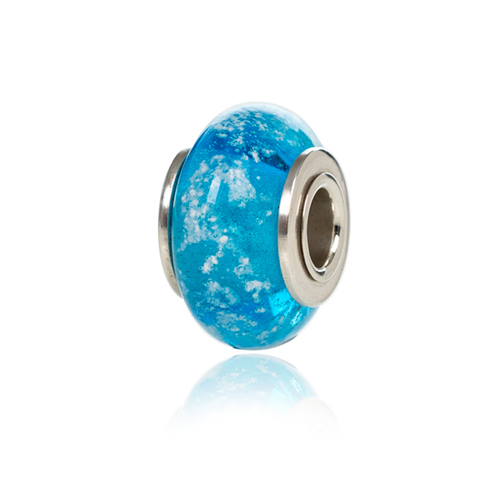 Aqua Cremation Glass Charm