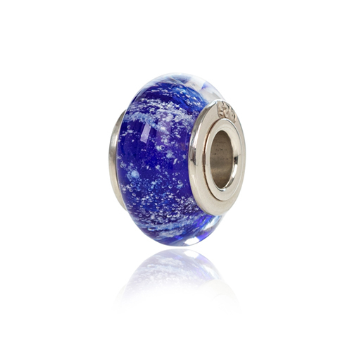 Blue Cremation Glass Charm Bead