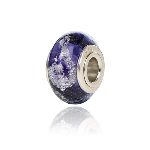 Purple Cremation Glass Charm Bead