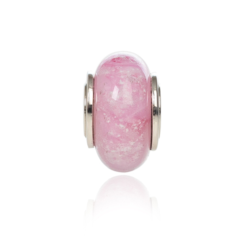 Pink Cremation Glass Charm Bead