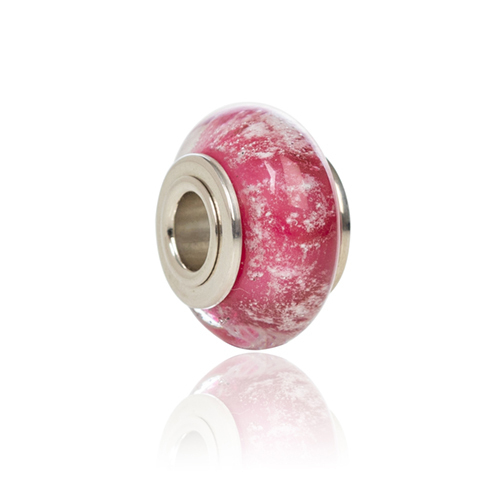 Cranberry Cremation Glass Charm Bead