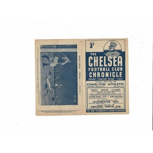 1947/48 Chelsea v Charlton Athletic Football Programme