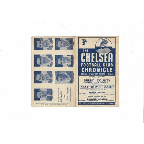 1947/48 Chelsea v Derby County Football Programme