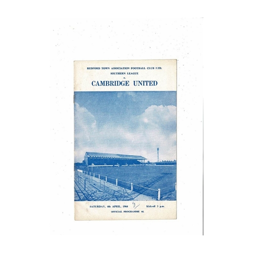 1963/4 Bedford Town v Cambridge United Football Programme
