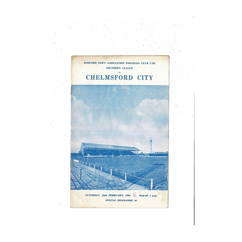 1963/64 Bedford Town v Chelmsford City Football Programme
