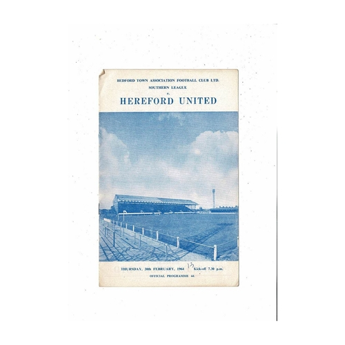 1963/64 Bedford Town v Hereford United Football Programme