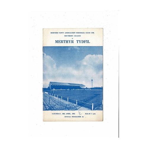 1963/64 Bedford Town v Merthyr Tydfil Football Programme