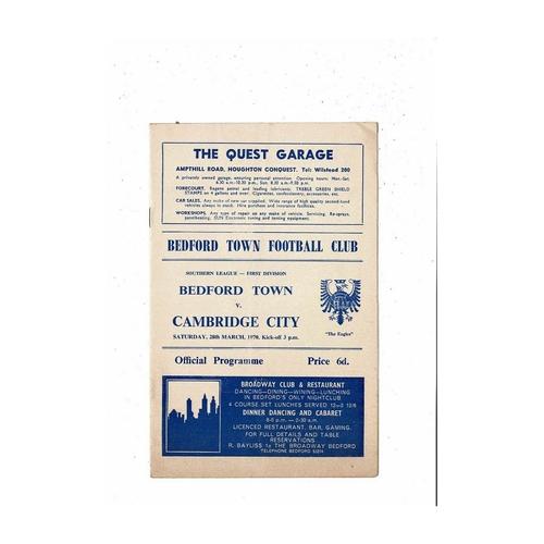 1969/70 Bedford Town v Cambridge City Football Programme