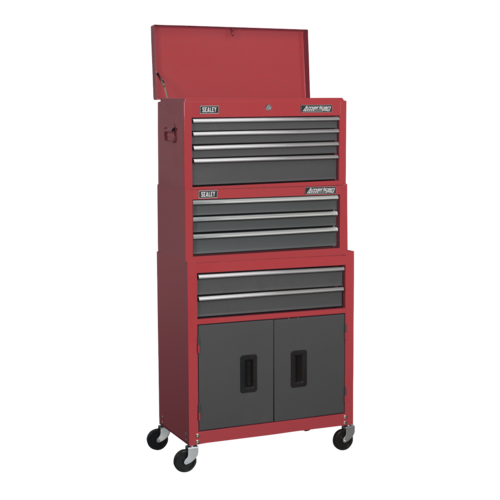 Topchest, Mid-Box & Rollcab 9 Drawer Stack - Red - Sealey - AP2200BBSTACK