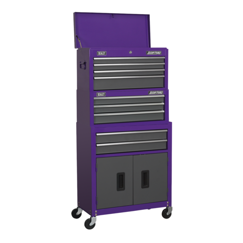Topchest, Mid-Box & Rollcab 9 Drawer Stack - Purple - Sealey - AP2200BBCPSTACK