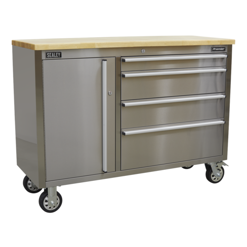 Mobile Stainless Steel Tool Cabinet 4 Drawer - Sealey - AP4804SS