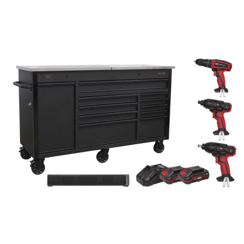 Mobile Tool Cabinet 1600mm with 20V Tool Kit & Sound Bar - Sealey - AP6310BE20V