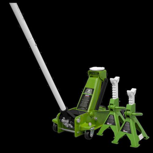 Trolley Jack 3tonne Super Rocket Lift & Axle Stands (Pair) 3tonne Capacity per Stand-Hi-Vis - Sealey - 3015CXHV