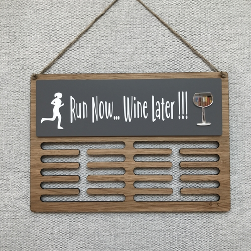 "Medal display hanger "" run now .. gin / wine / beer / cake later"